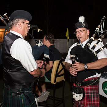 Bagpipes usher in last call nightly.