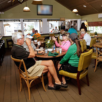 Guests enjoying lunch on the Plantation Porch