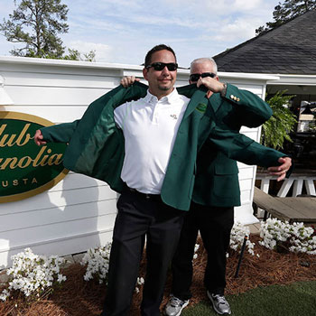 Try on one of our Green Jackets!